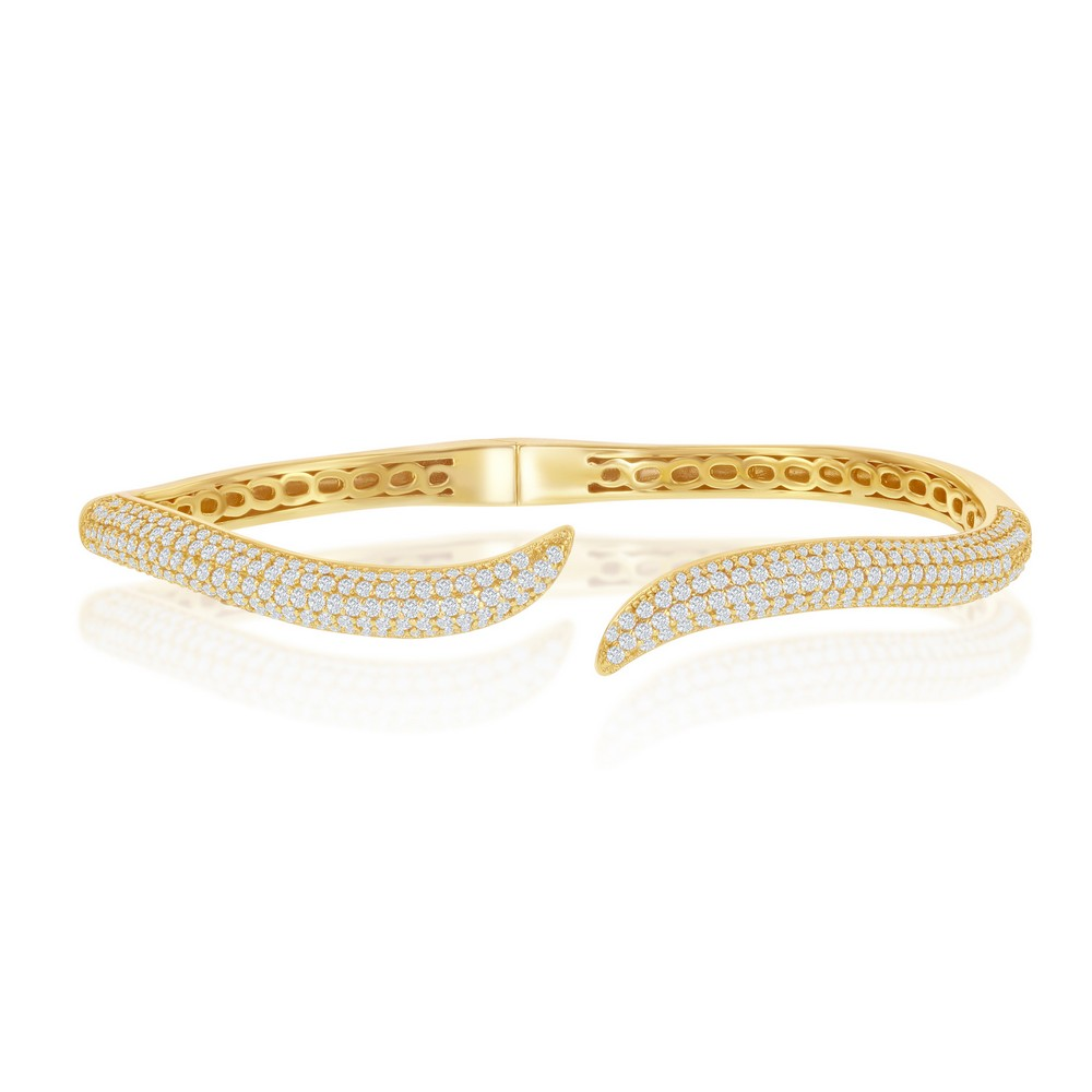 Sterling Silver Micro Pave CZ Waved Bangle - Gold Plated