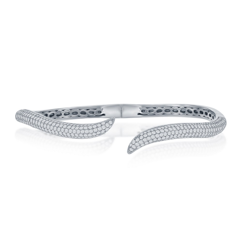 Sterling Silver Micro Pave CZ  Waved Bangle