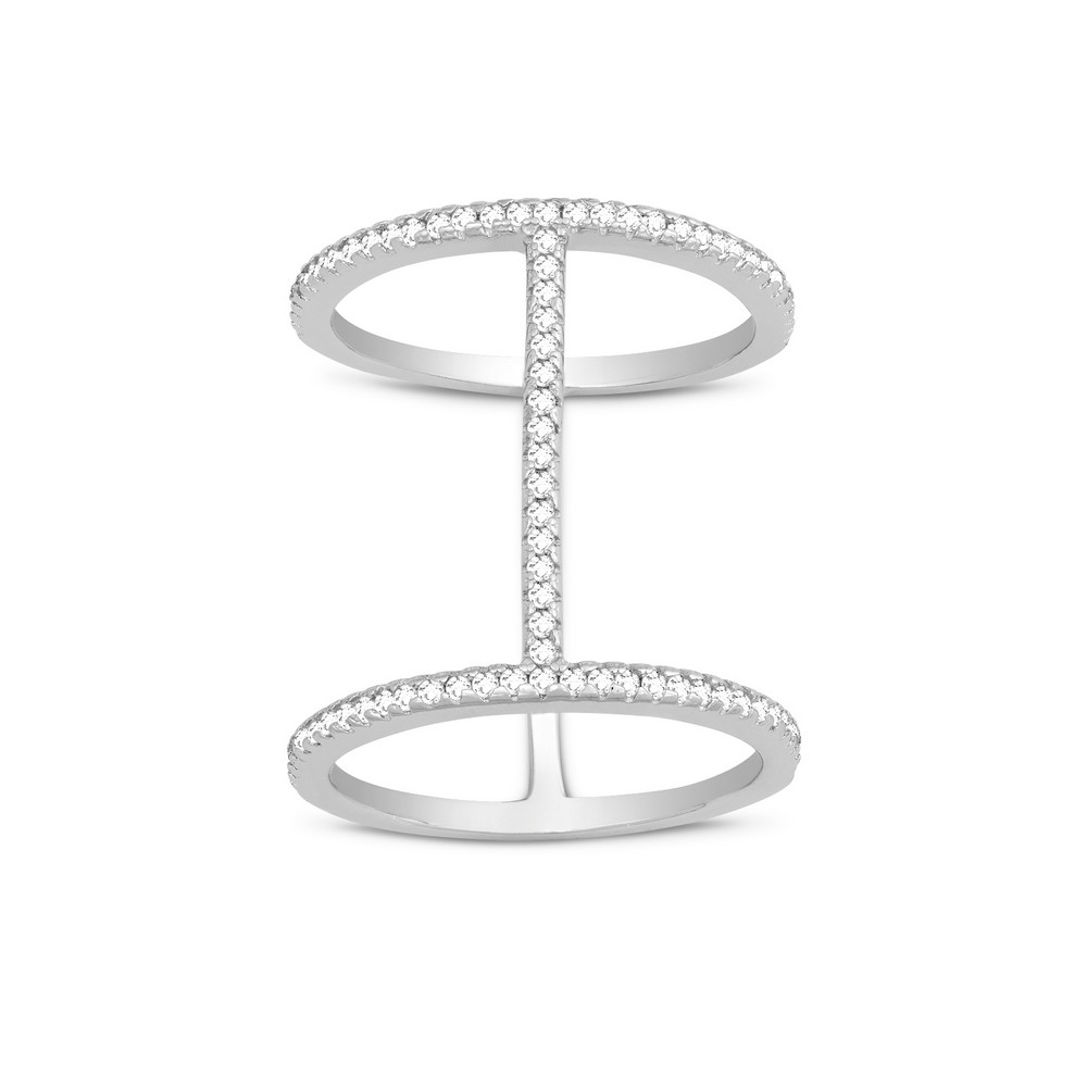 Sterling Silver Tall Thin CZ Double Ring