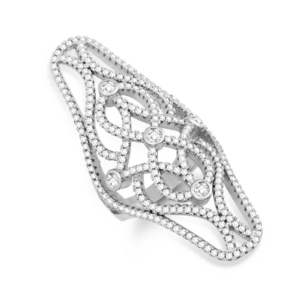 Sterling Silver Extra Long Fancy CZ Ring