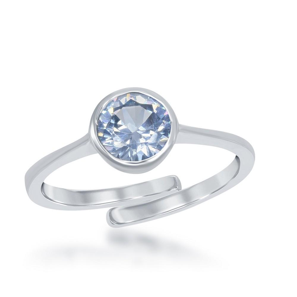 March Created Aquamarine Bezel Set Ring