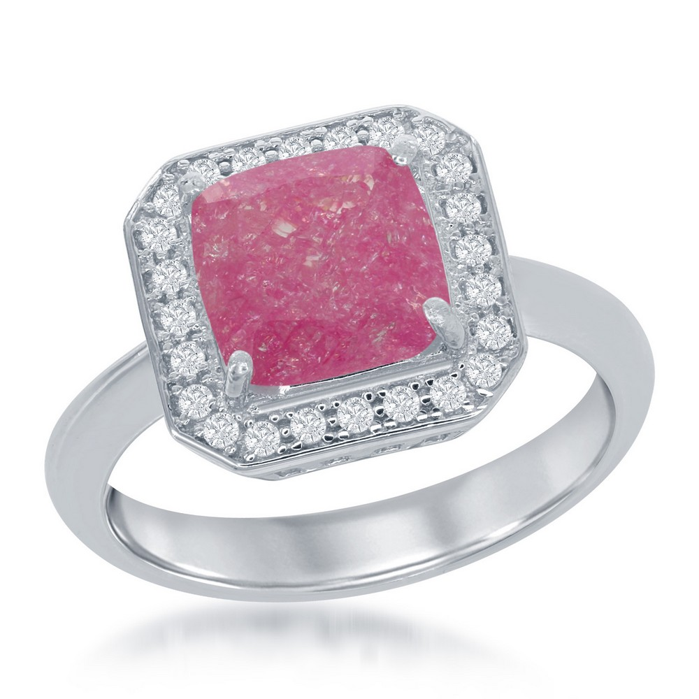 Sterling Silver Square Dark Pink Ice with CZ Border Ring