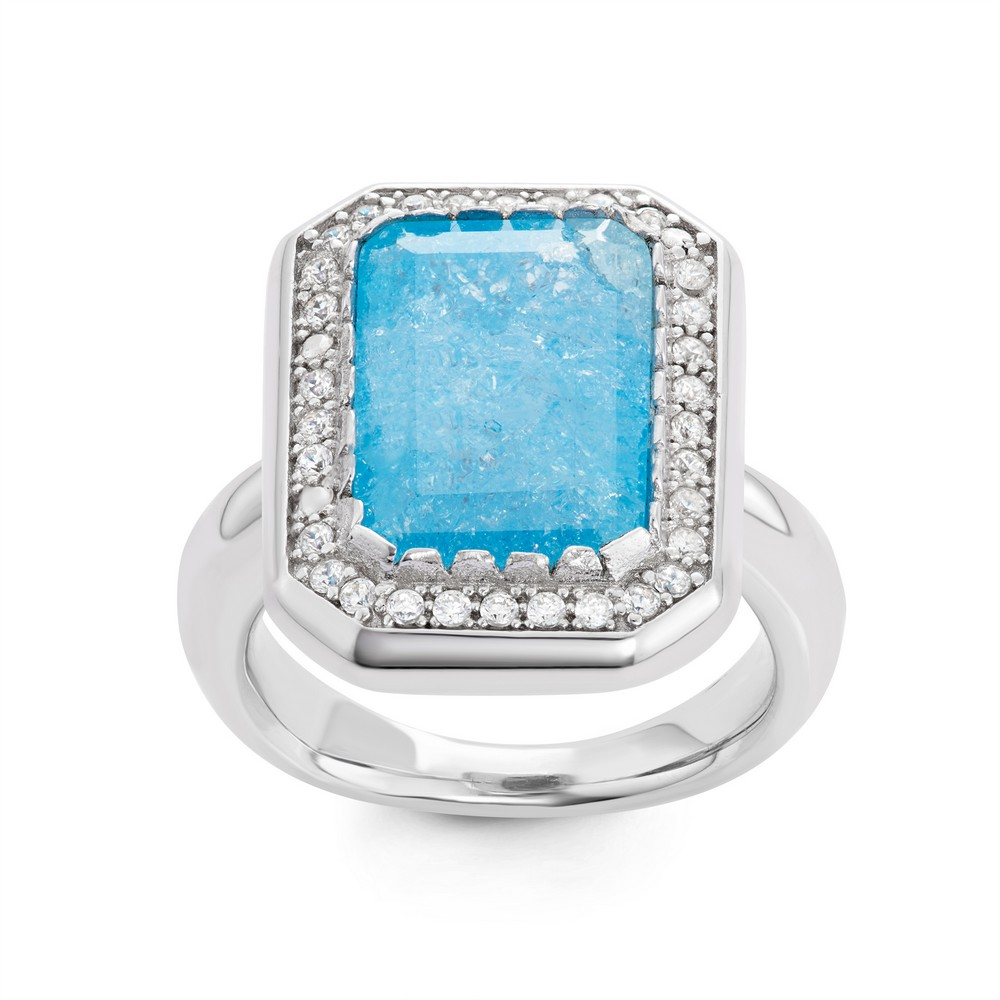 Sterling Silver Large Rectangle Blue Ice with CZ Border Ring