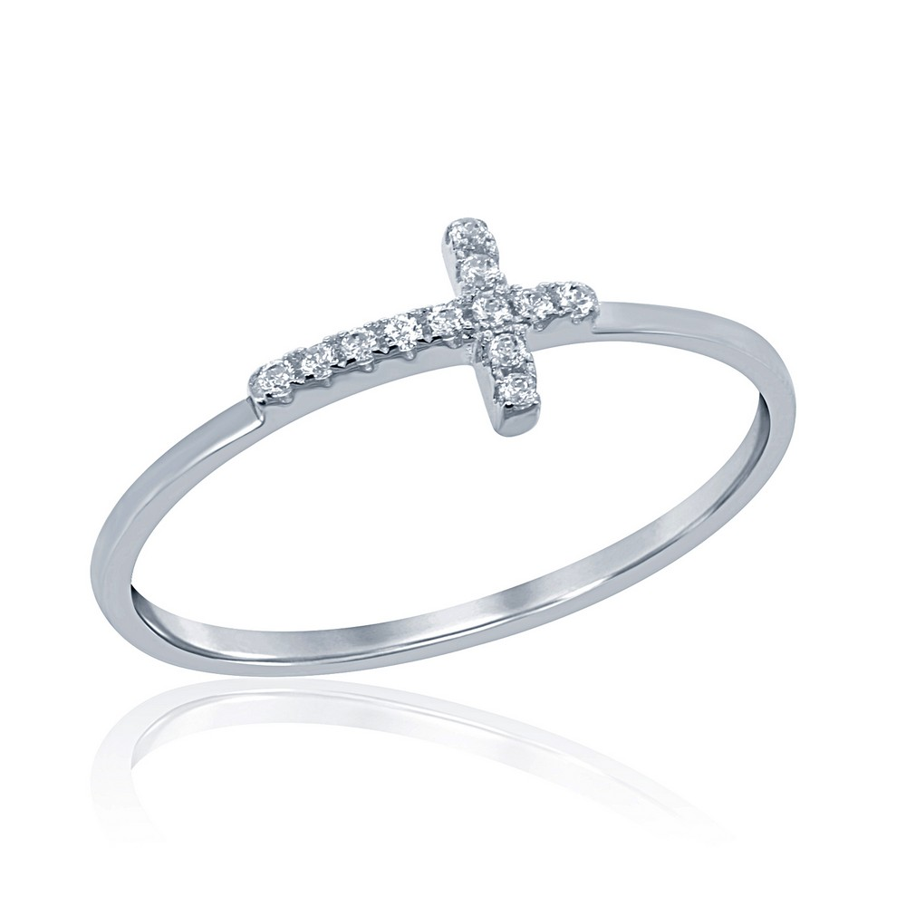 Sterling Silver Small CZ Cross Ring