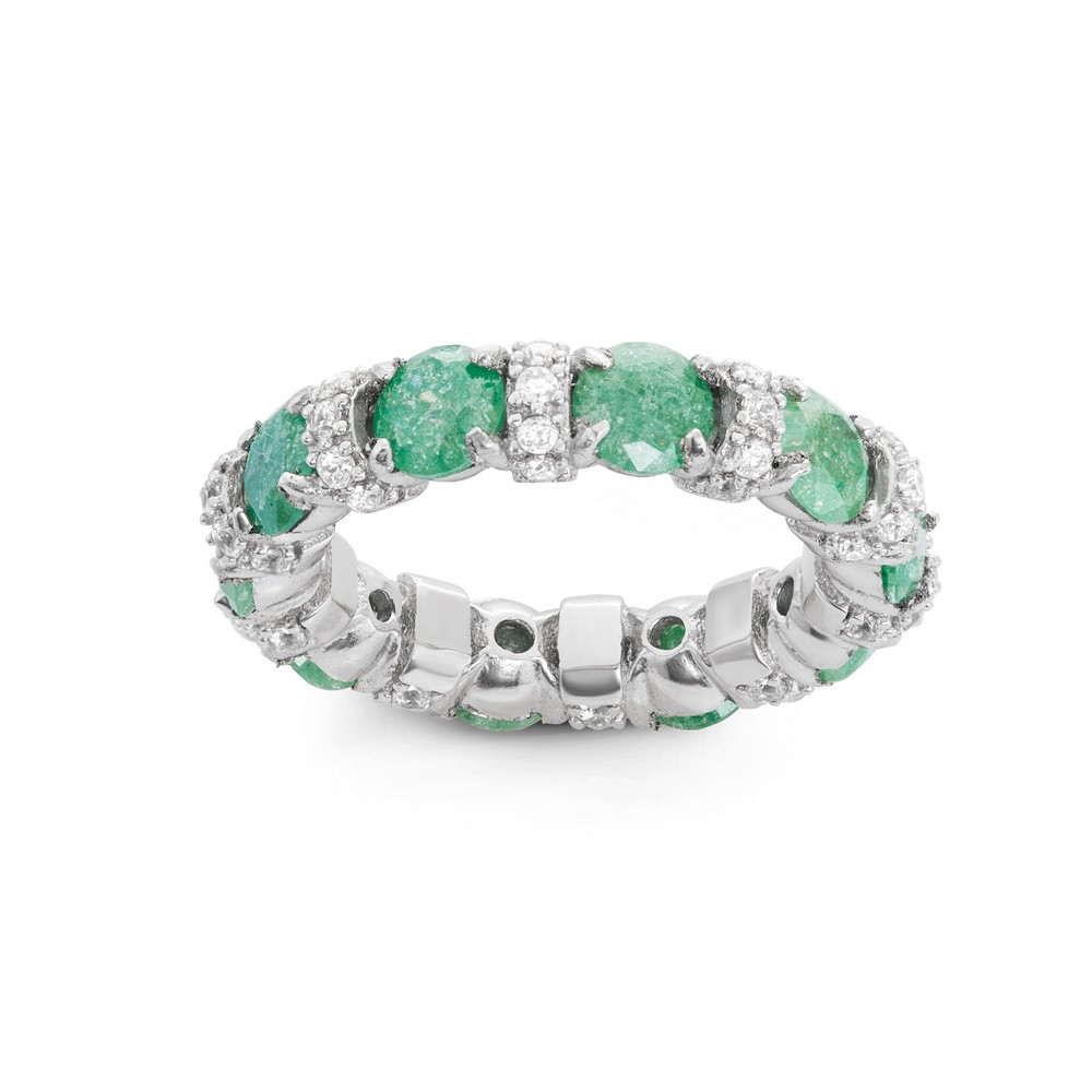 Sterling Silver Clear CZ and Green Ice Eternity Ring