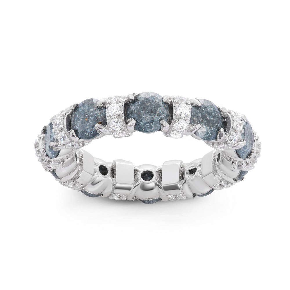 Sterling Silver Clear CZ and Dark Gray Ice Eternity Ring