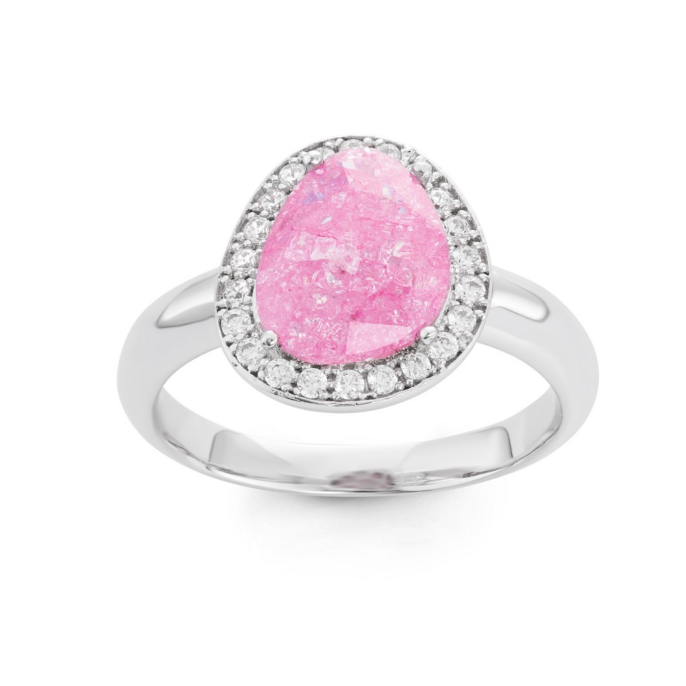 Sterling Silver Rounded Triangle Dark Pink Ice with CZ Border Ring
