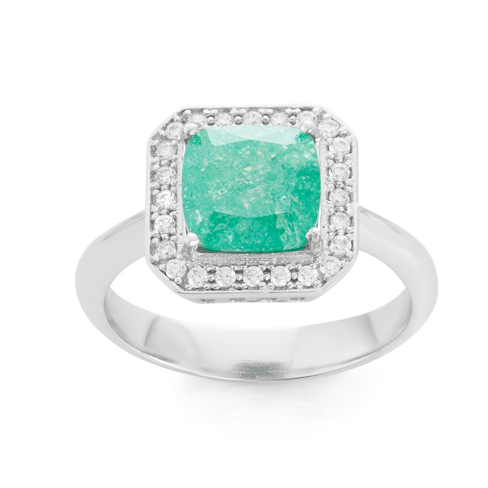 Sterling Silver Square Green Ice with CZ Border Ring