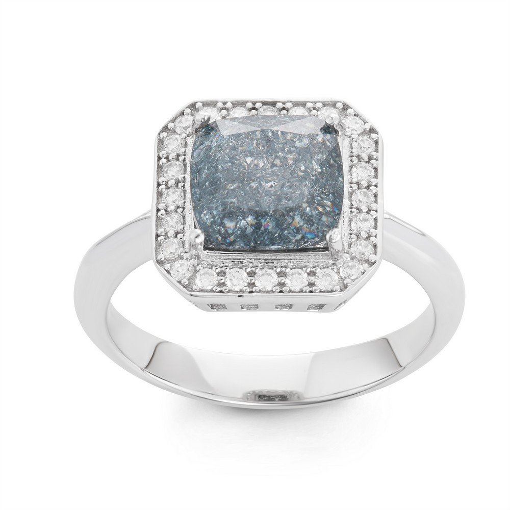 Sterling Silver Square Dark Gray Ice with CZ Border Ring