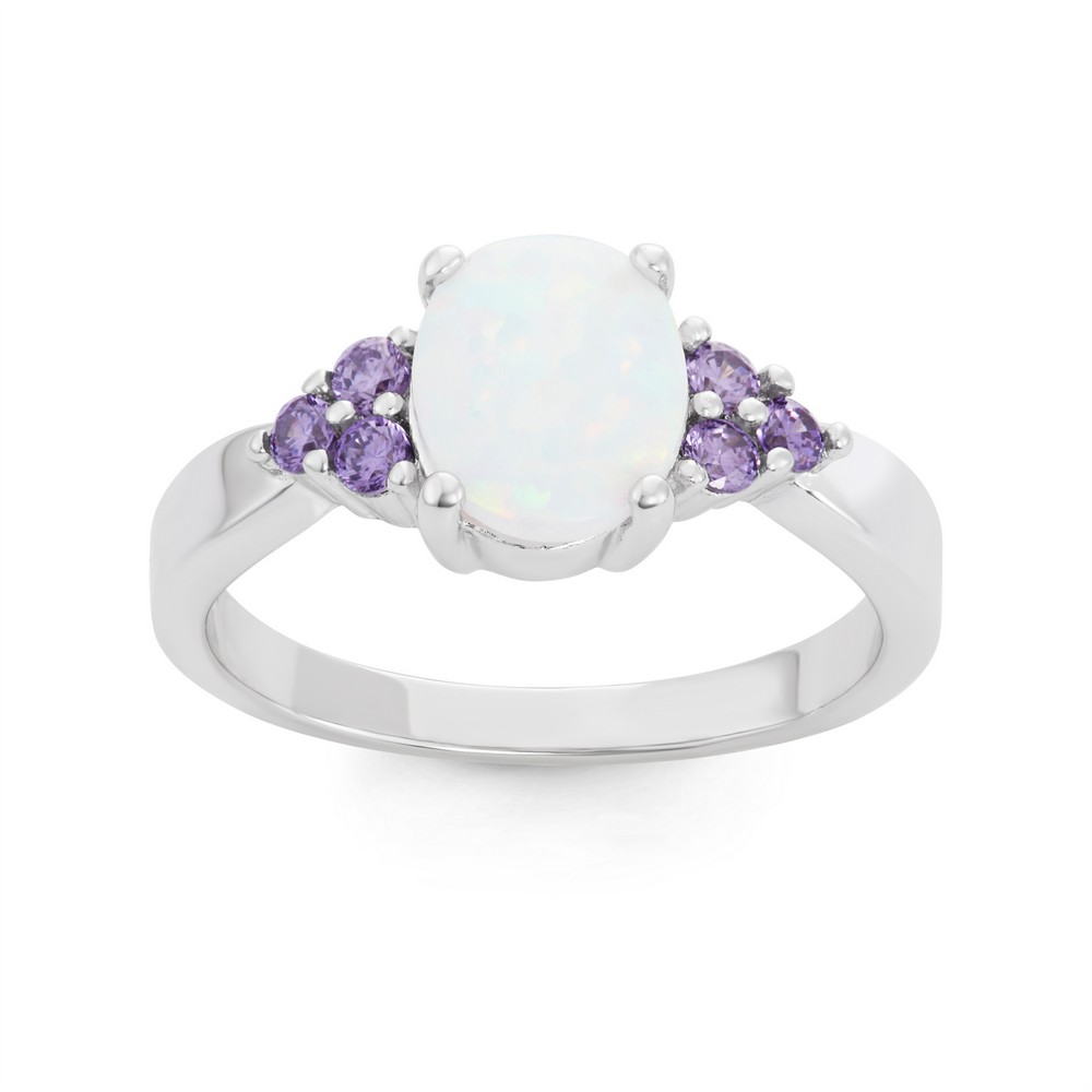 Sterling Silver Oval White Inlay Opal with Amethyst CZ Sides Ring