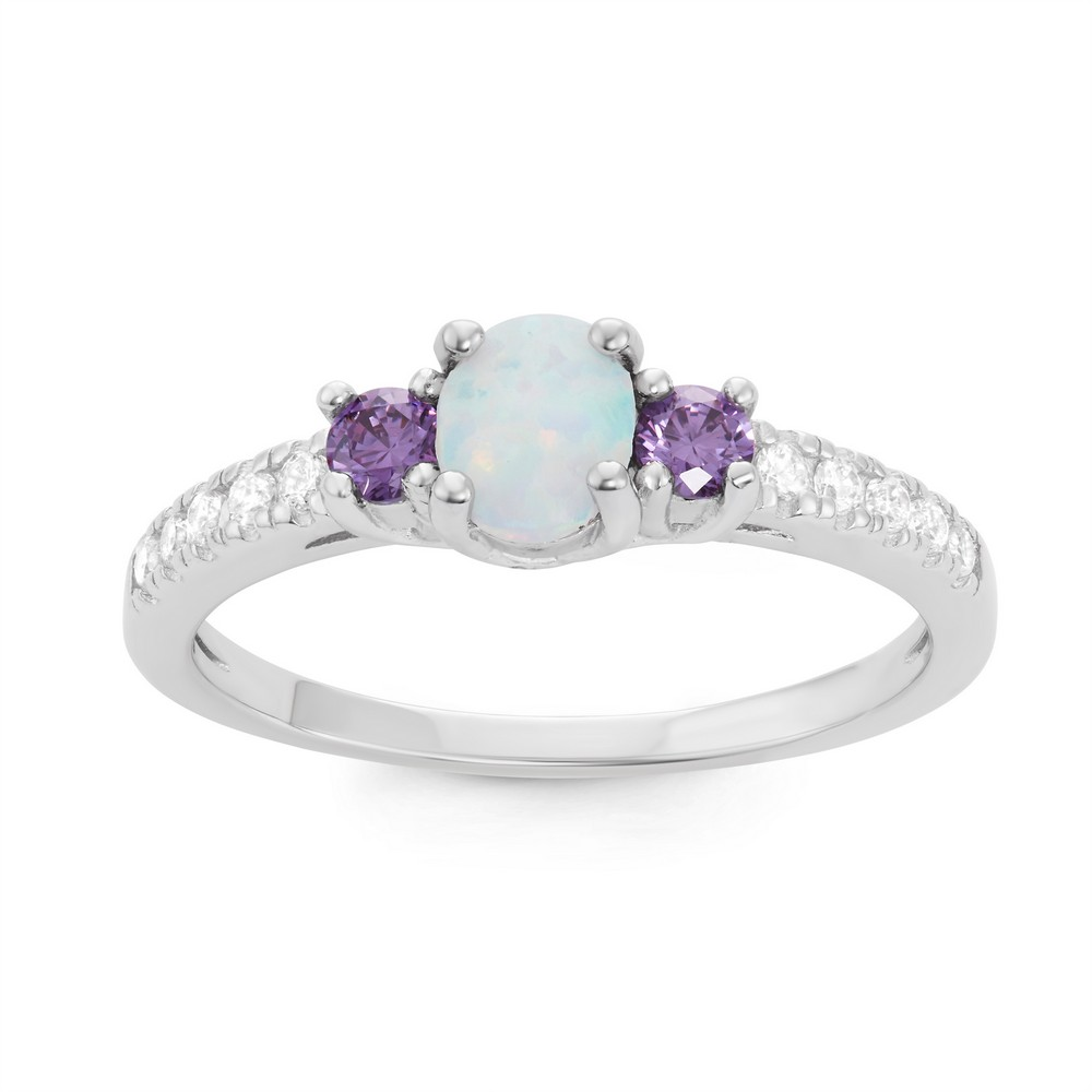 Sterling Silver White Inlay Opal Oval with Amethyst and Clear CZ Ring