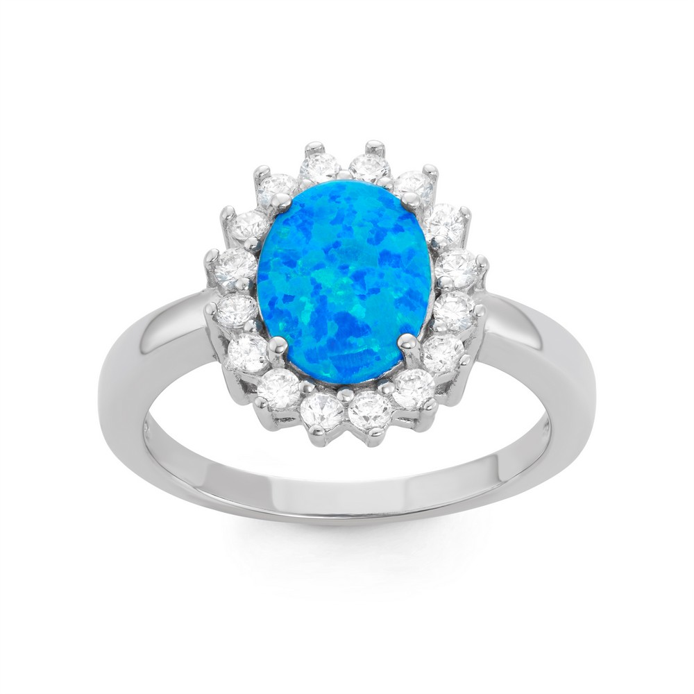 Sterling Silver Blue Inlay Opal Oval with CZ Border Ring
