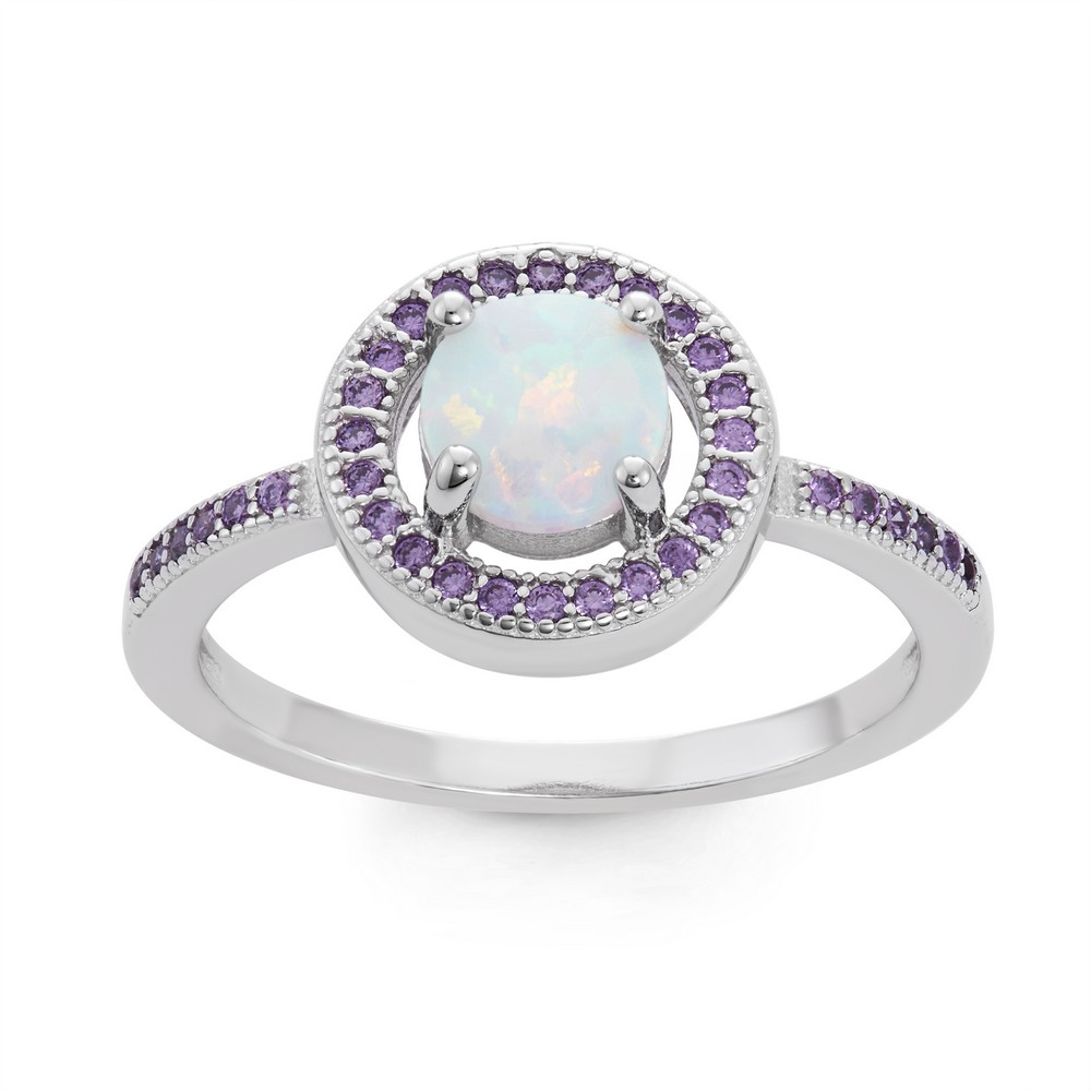 Sterling Silver White Inlay Opal Circle with Amethyst Micro Pave CZ Border Ring