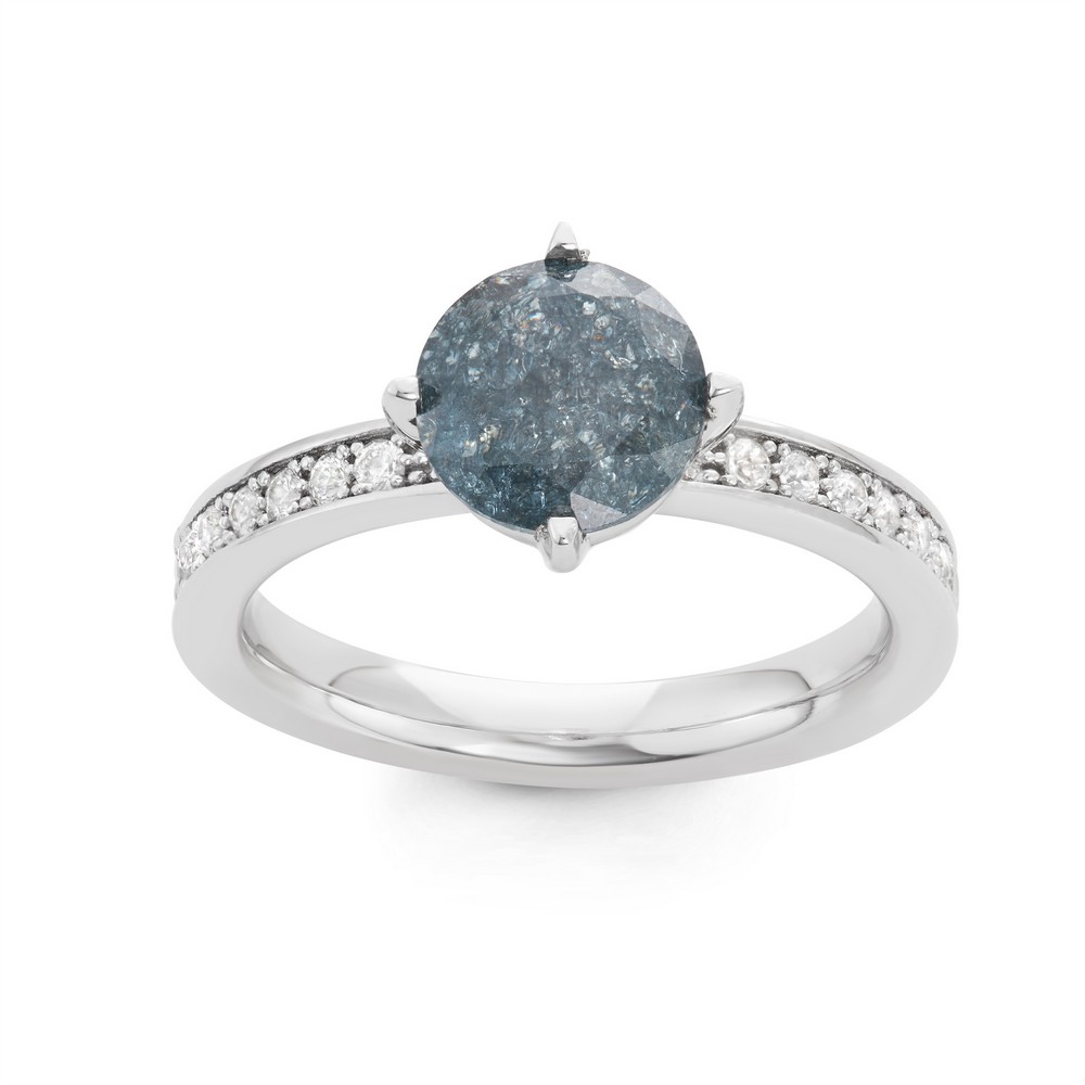 Sterling Silver Dark Gray Ice Center with CZ Ring