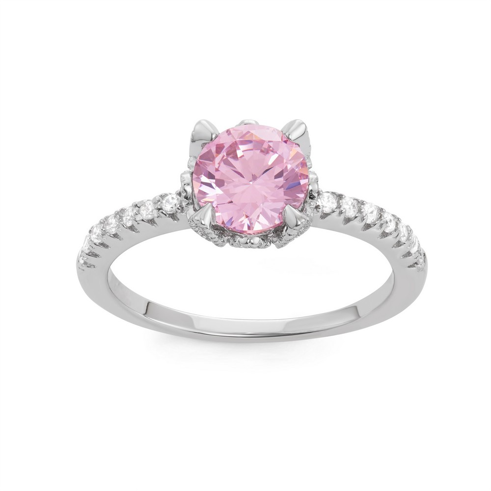 Sterling Silver CZ Band with Center Round Pink CZ Engagement Ring