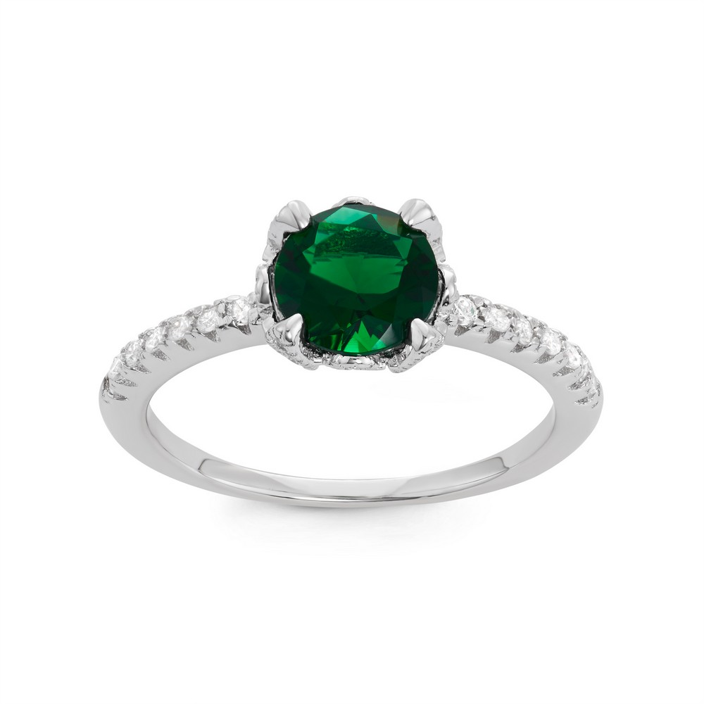 Sterling Silver CZ Band with Center Round Emerald Green CZ Engagement Ring
