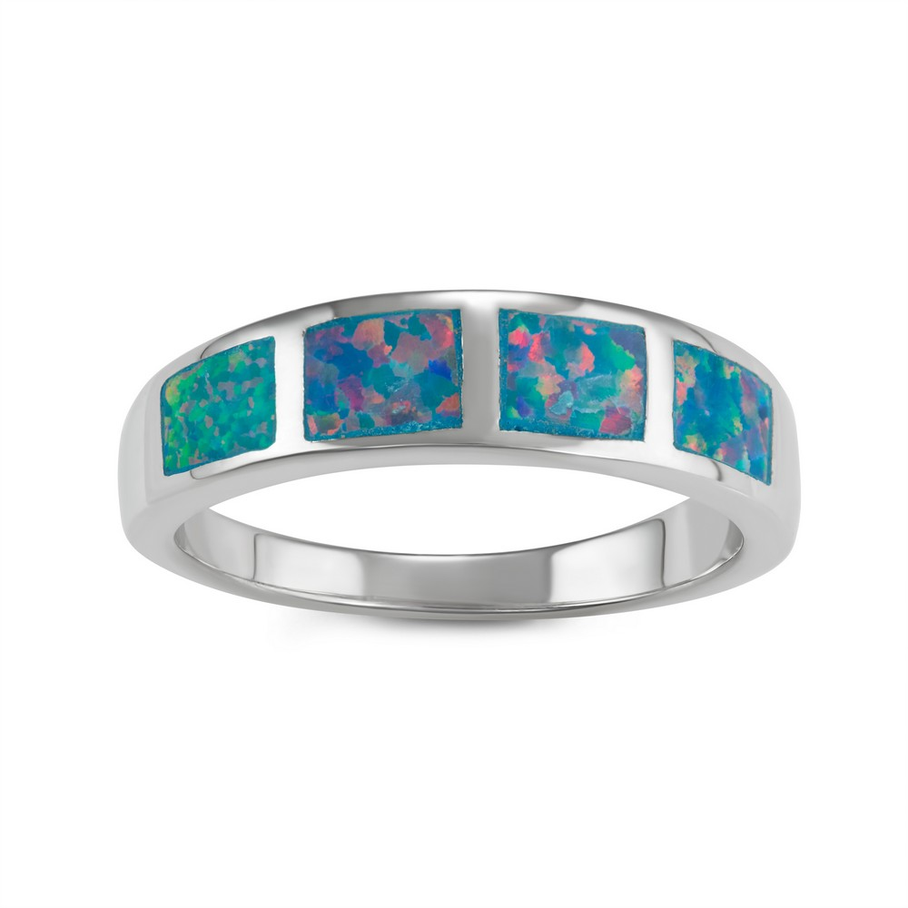 Sterling Silver Blue Green Fire Inlay Opal Squares Ring