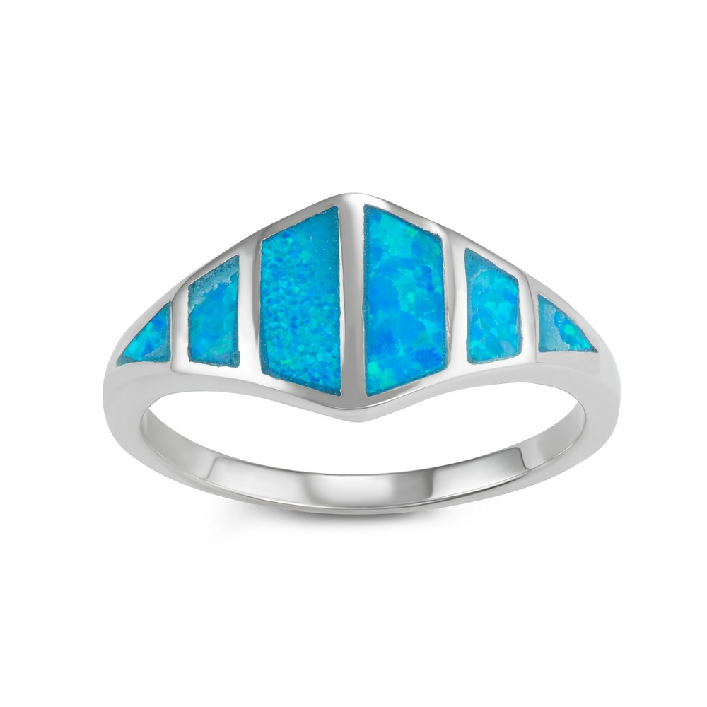 Sterling Silver Blue Inlay Opal Ring