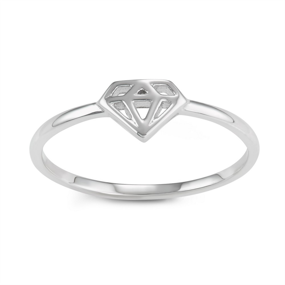 Sterling Silver Diamond Shaped Design Ring