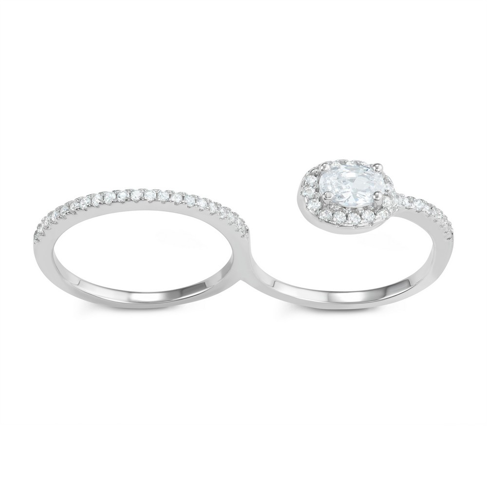 Sterling Silver CZ Band and Open Engagment Double Finger Ring