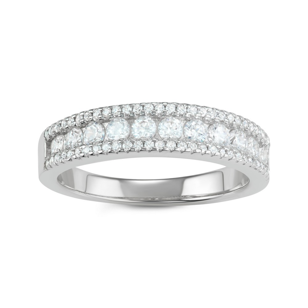 Sterling Silver CZ Triple Row Ring