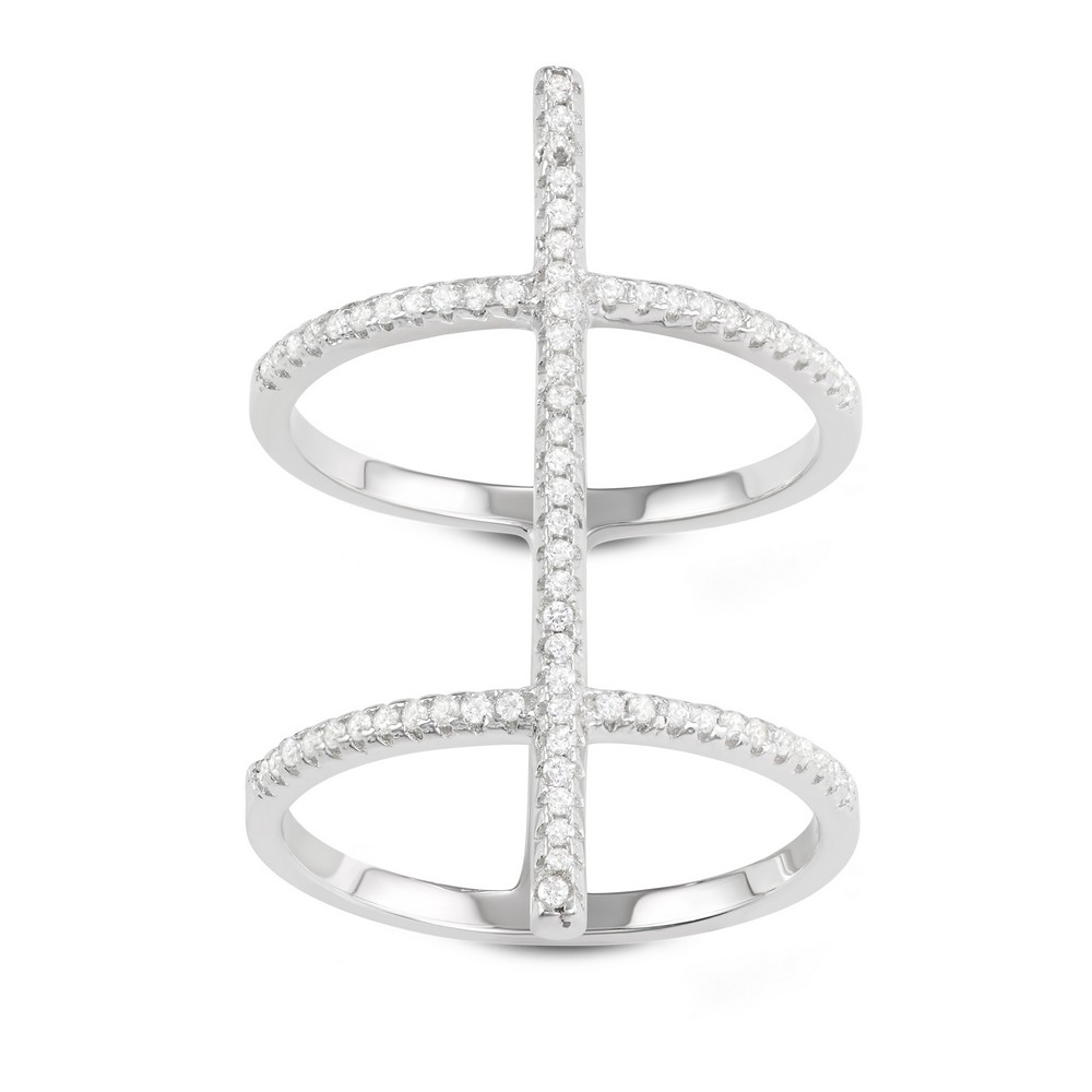 Sterling Silver Extra Long Double CZ Row with Center CZ Bar Ring