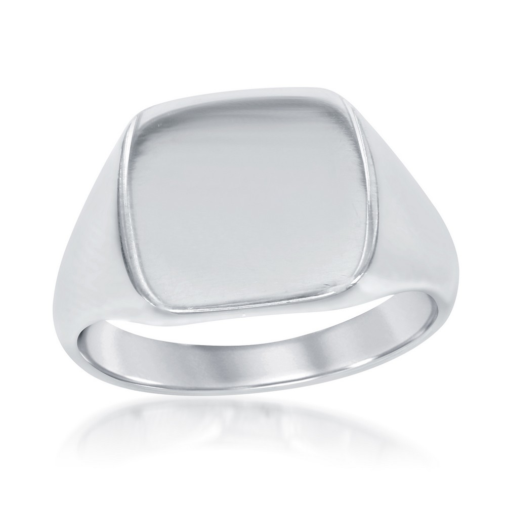 Sterling Silver Shiny Square Ring