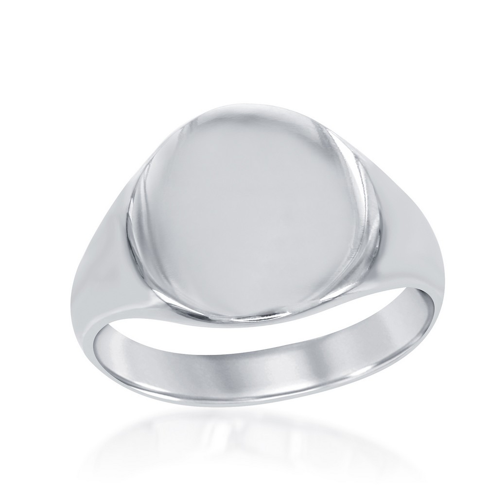 Sterling Silver Large Shiny Oval Ring