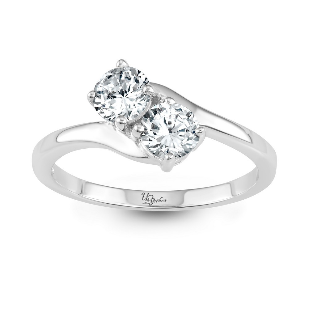 Sterling Silver Us2gether 5mm Two-Stone CZ Ring
