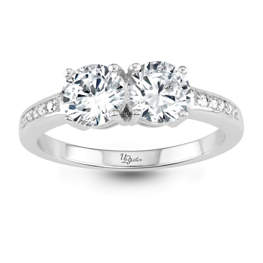 Sterling Silver Us2gether 6mm Two-Stone Side by Side Round CZ with Half CZ Band Ring