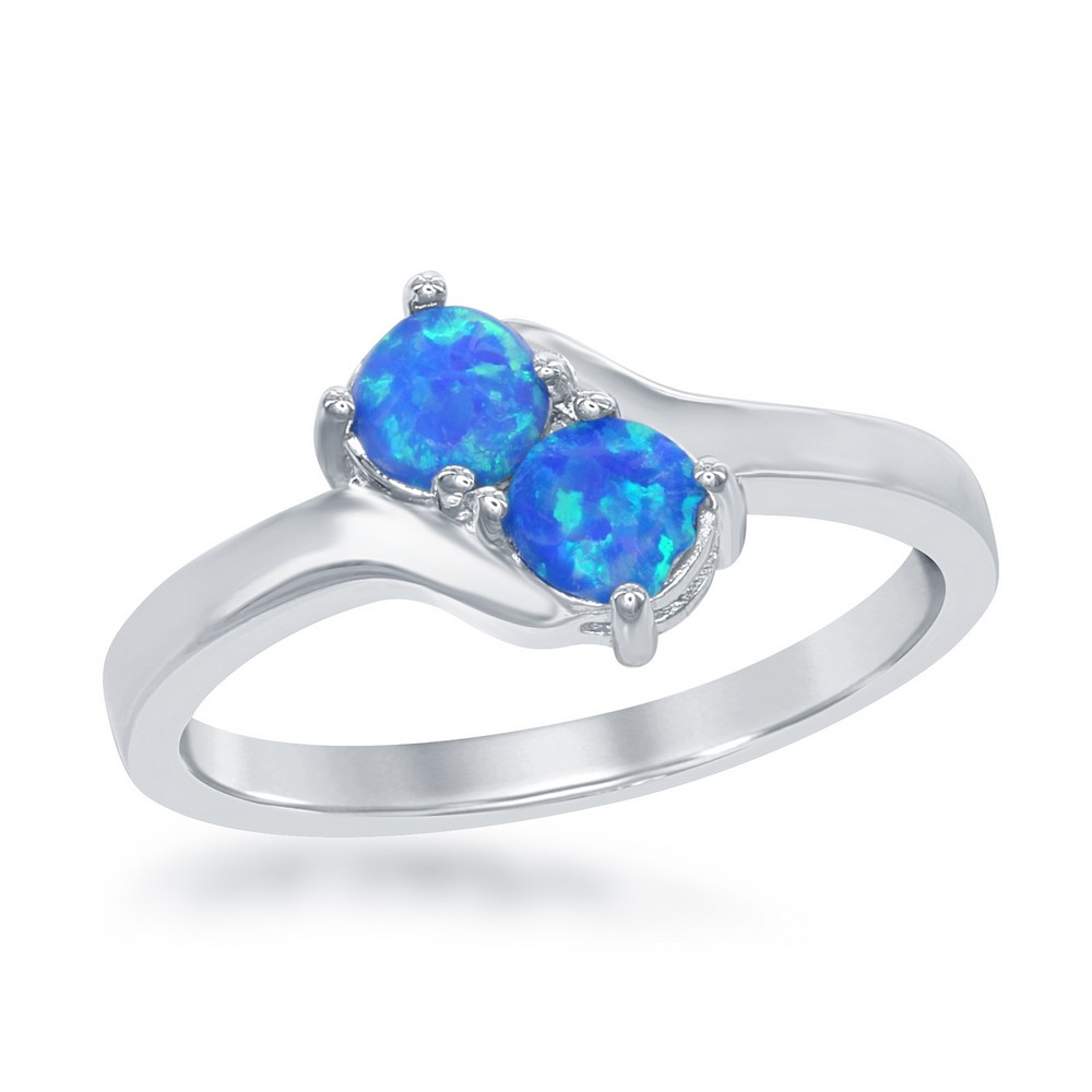Sterling Silver Us2gether Oval Two-Stone Side by Side Round Blue Opal with CZ Ring
