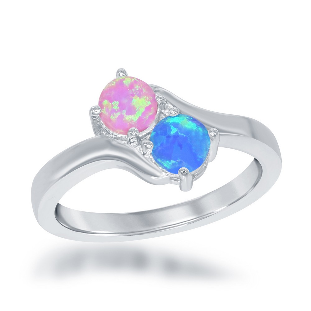 Sterling Silver Us2gether Oval Two-Stone Side by Side Round Pink and Blue Opal Ring