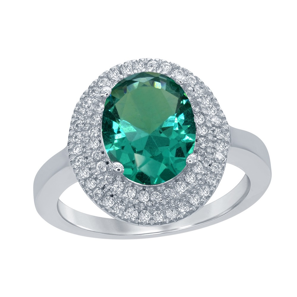 Sterling Silver Oval Simulated Emerald with CZ Border Ring
