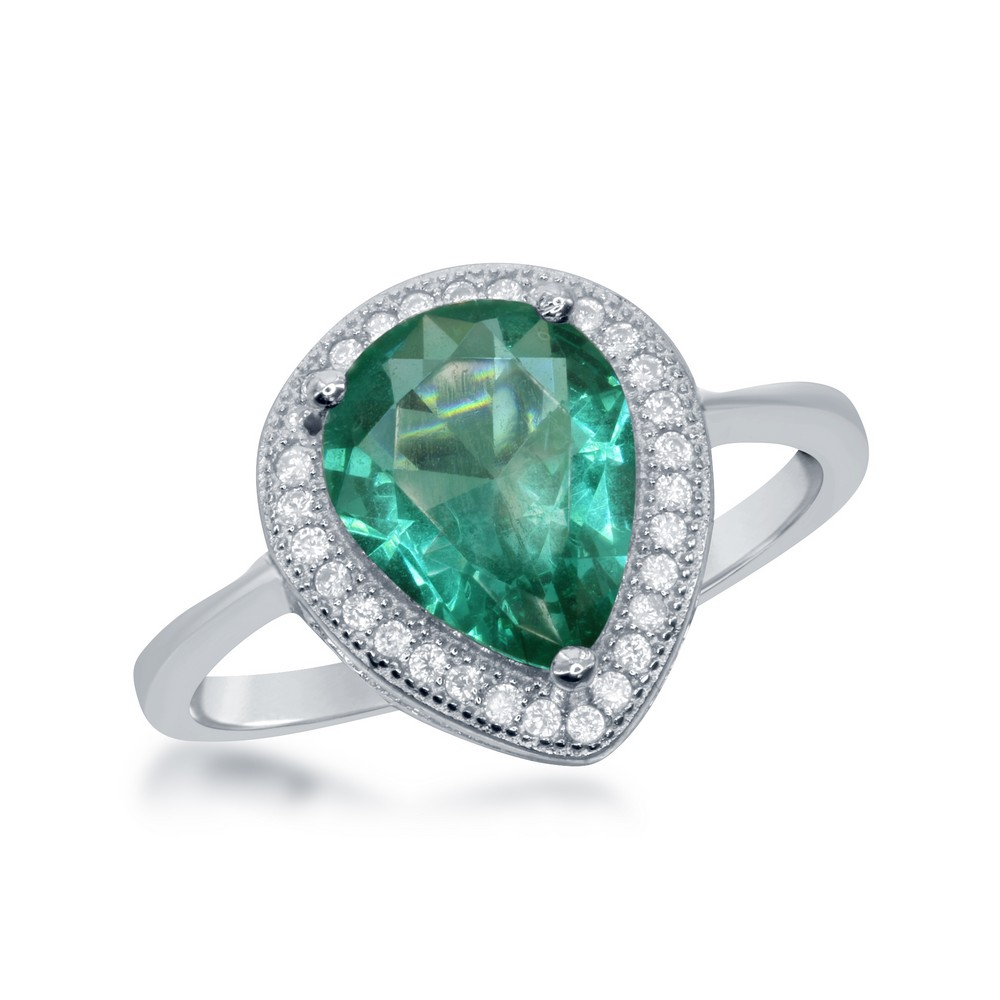 Sterling Silver Teardrop Simulated Emerald with CZ Border Ring