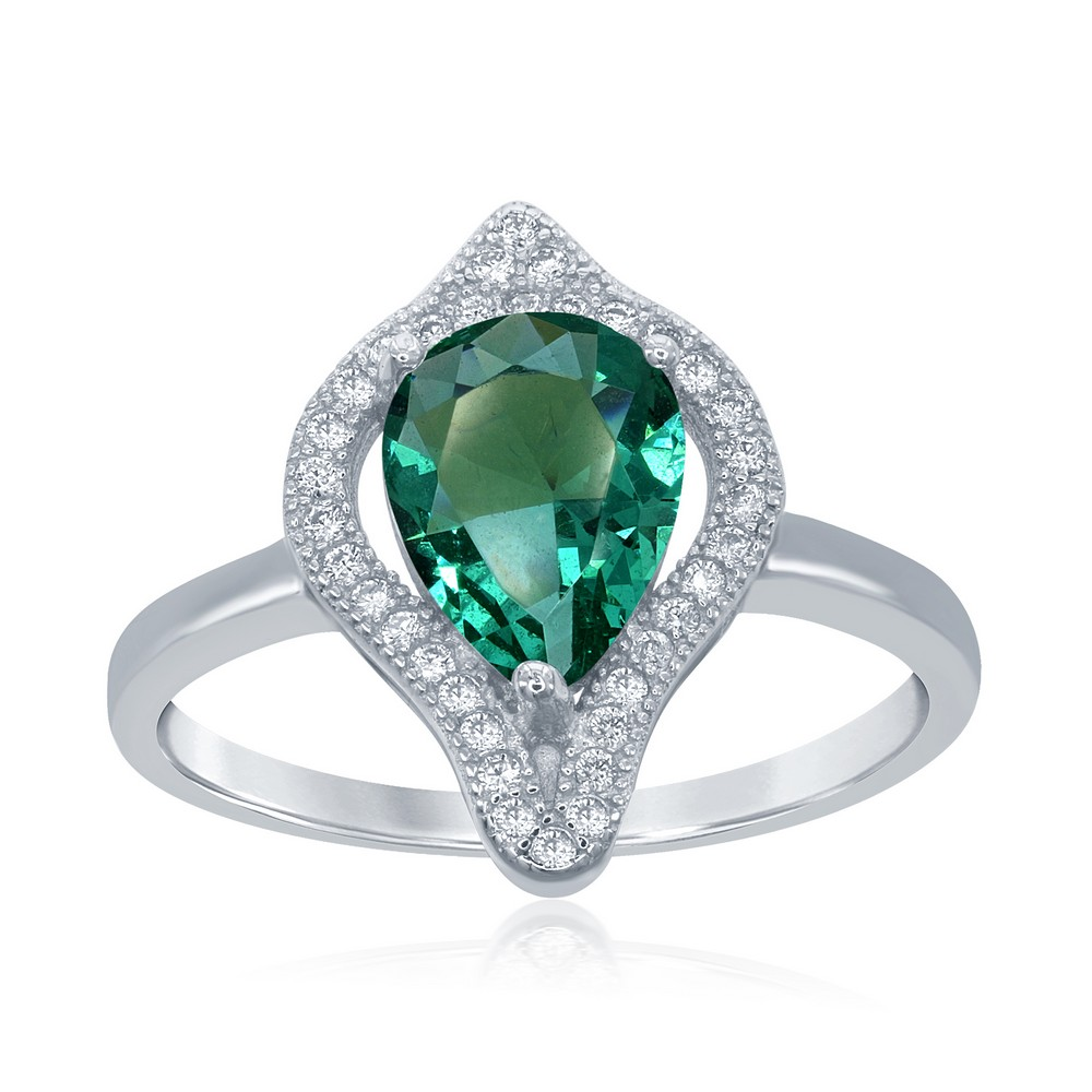 Sterling Silver Large Teardrop Simulated Emerald with CZ Border Ring