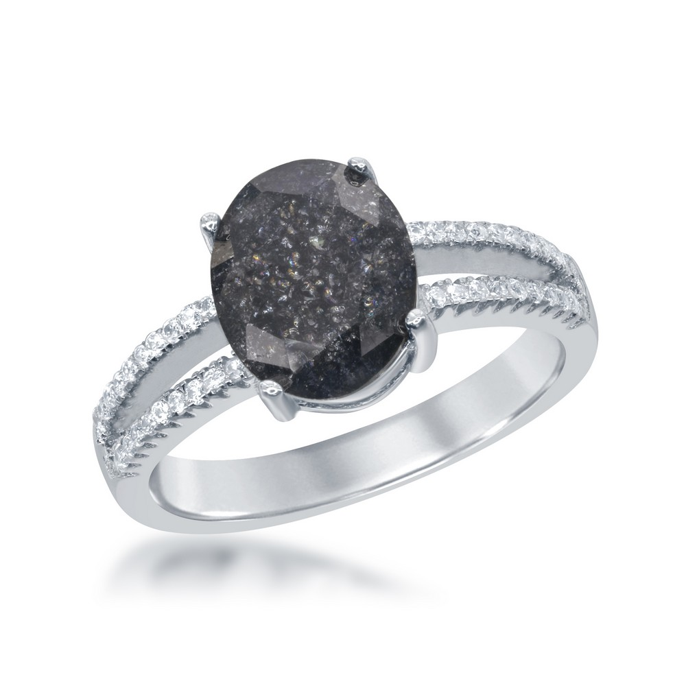 Sterling Silver Oval Grey Ice with CZ Ring