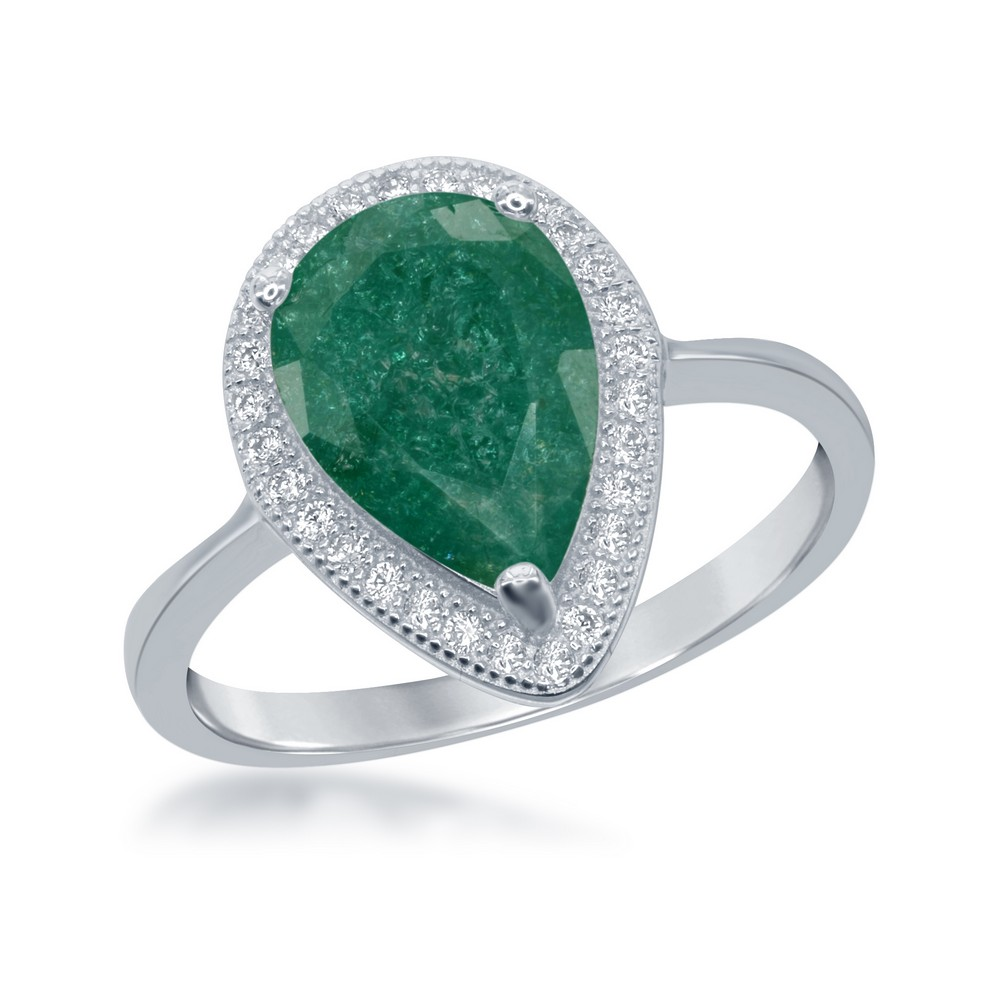 Sterling Silver Teardrop Green Ice with CZ Border Ring