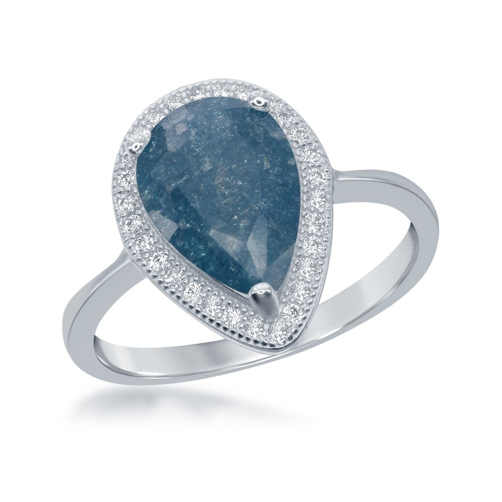 Sterling Silver Teardrop Blue Ice with CZ Border Ring