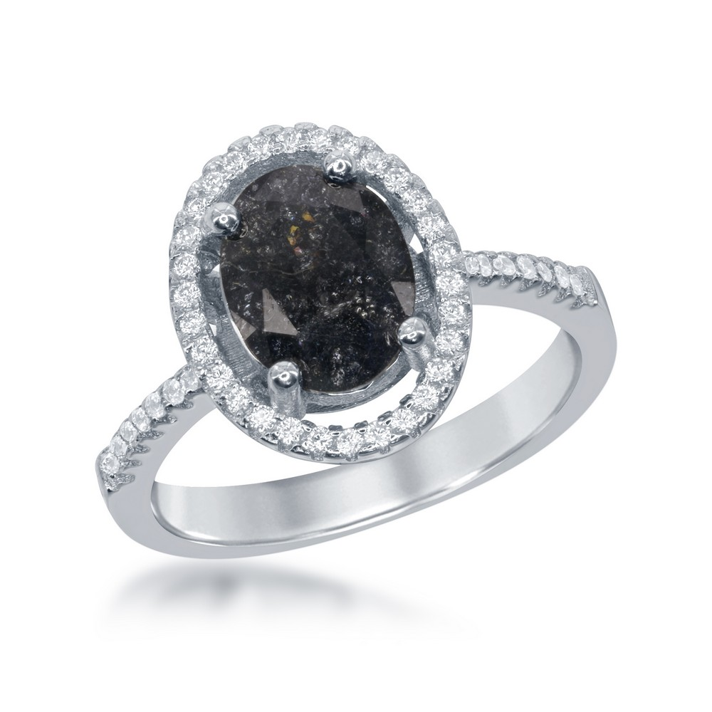 Sterling Silver Oval Black Ice with CZ Border Ring