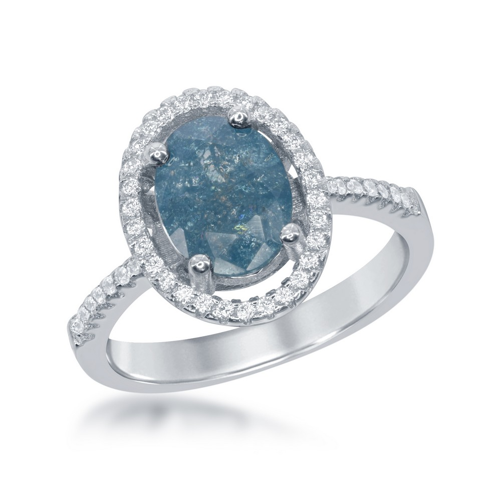 Sterling Silver Oval Blue Ice with CZ Border Ring