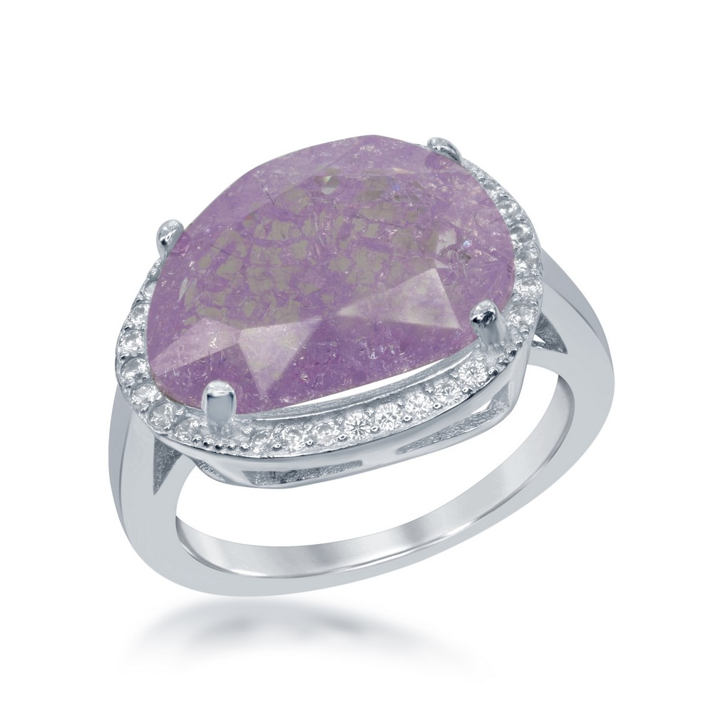 Sterling Silver Oval Lt. Pink Ice with CZ Border Ring