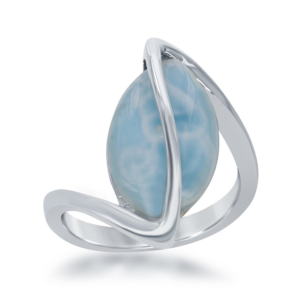 Sterling Silver Oval Larimar Twisted Ring