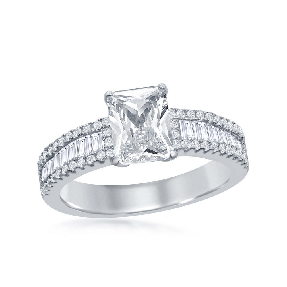 Sterling Silver Emerald Cut CZ Center With  Half Baguette CZ Band Engagement Ring