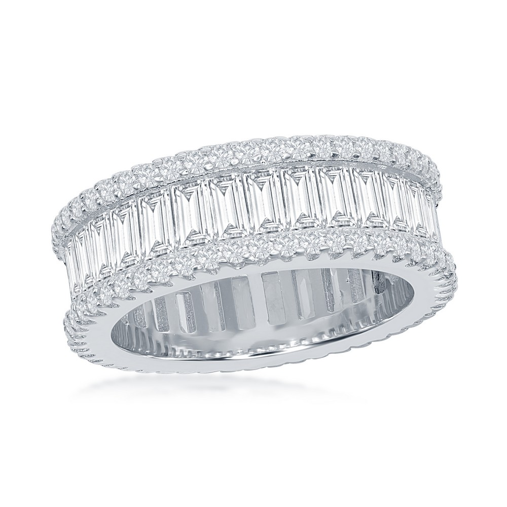 Sterling Silver Baguette CZ and Pave Border Band Ring