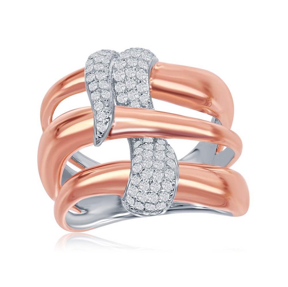 Sterling Silver Two-Tone Triple Wave Design Intertwined Micro Pave Ring