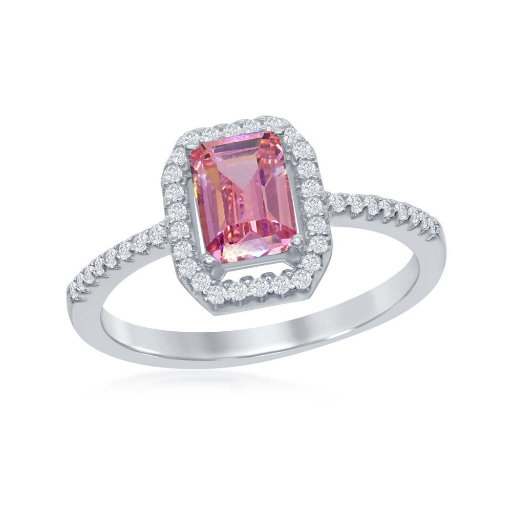 Sterling Silver Emerald-Cut Pink CZ with CZ Border Ring