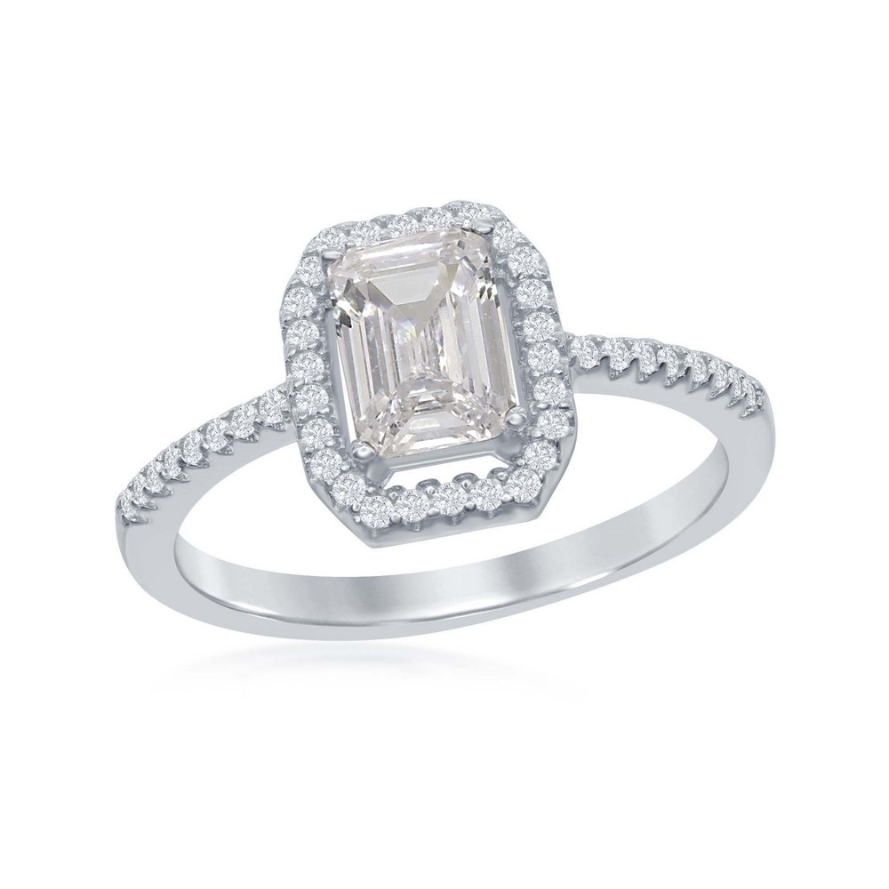 Sterling Silver Emerald-Cut White CZ with CZ Border Ring