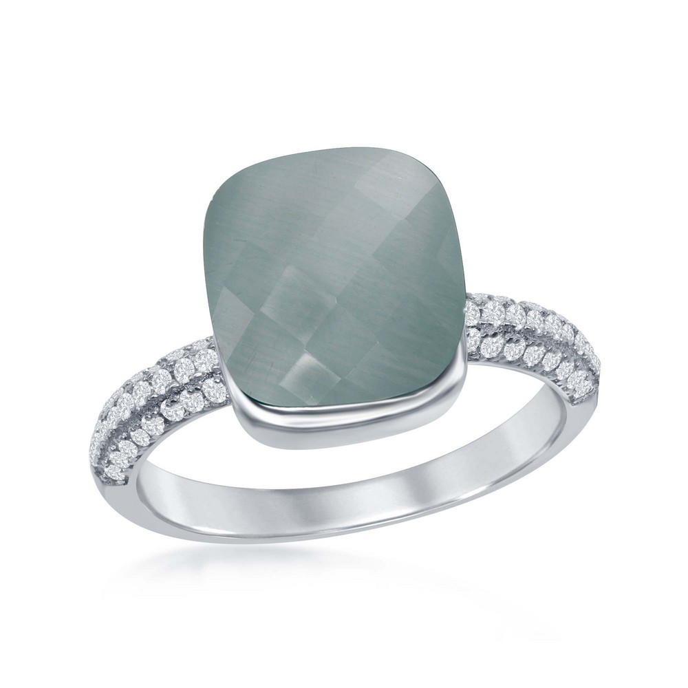 Sterling Silver Checkered Square Blue Cat's Eye with Half Micro Pave Band Ring