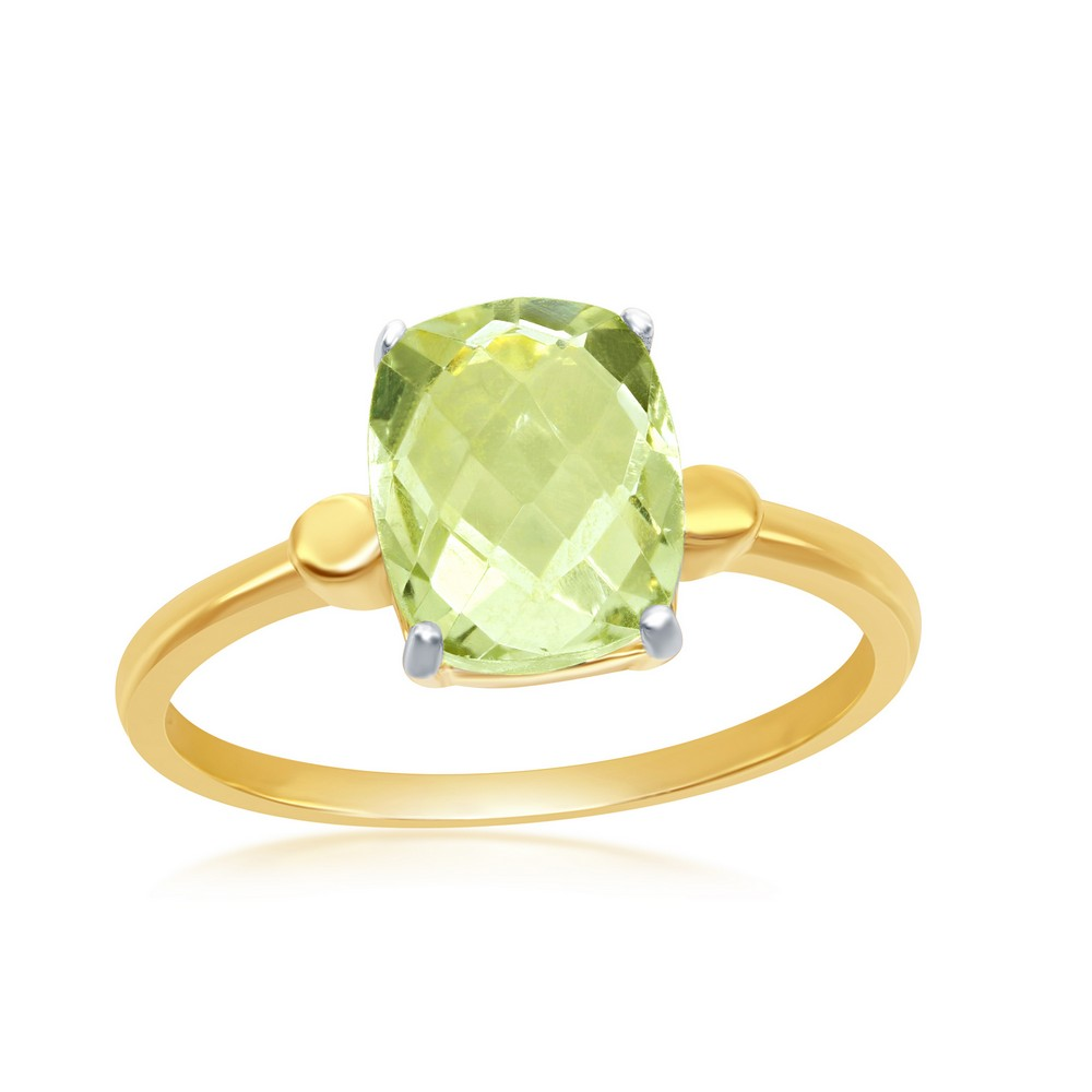 Sterling Silver Gold Plated Four-Prong Checkered 2.452cttw Green Amethyst Ring