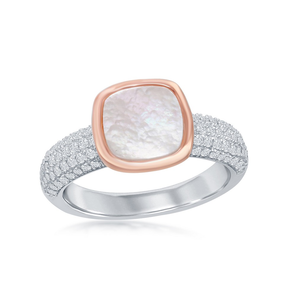 Sterling Silver Rose Gold Plated Square Mother of Pearl Micro Pave Band Ring